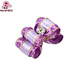 FUN OF PETS® Lovely Two-Tone Ribbon Style Rhinestone Decorated Rubber Band Hair Bow for Pet Dogs