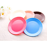 Dia 13cm Plastic Reusable Colorful Snack Plate Dishwasher Safe (Random Color)