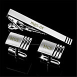 Personalized Gift Men's Engravable Silver Plain Stripe Pattern Cufflinks and Tie Bar Clip Clasp(1 Set)