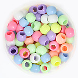 Beadia 100g(Approx 250Pcs)  Fashion 8x9mm Round Big Hole Acrylic Beads Mixed Spring Color Plastic Loose Beads