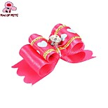 FUN OF PETS® Lovely Ribbon Style Heart Pattern Rhinestone Decorated Rubber Band Hair Bow for Pet Dogs(Random Colour)