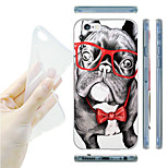 Belldog with Glasses Painting Pattern TPU Soft Back Case for iPhone 6