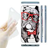 belldog con gli occhiali pittura progetto TPU posteriore morbida per iPhone 6