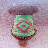 Holdhoney Green With Leaf Shape Acrylic Sweater For Pets Dogs (Assorted Sizes) #LT15050169