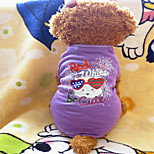 Holdhoney Purple With Lovely Pattern Heart Cotton T-Shirt For Pets Dogs (Assorted Sizes) #LT15050149