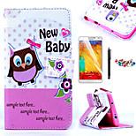 padrão da coruja do bebê karzea ™ estojo de couro pu com caneta protetor de tela e um plugue poeira para samsung galaxy N9000 Nota3