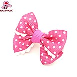FUN OF PETS®Lovely Ribbon Style Pure Colour Spot Pattern Rubber Band Hair Bow for Pet Dogs  (Random Color)