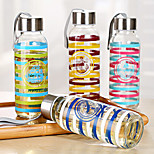 Navy Style Stripe Transparent Handy Water Bottle Glass Coffee Mug Drinking Cup (Random Color)