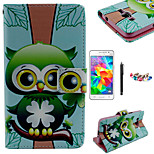 KARZEA™Green Owl Pattern PU Leather Case with Screen Protector and Stylus and Dust Plug for Samsung Grand Prime G530