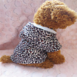 Holdhoney Black Leopard Grain Quilted Hooded Outfit For Pets Dogs (Assorted Sizes) #LT15050160
