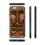 Wooden Mask Pattern Silica Gel Edge Back Case for iPhone 6