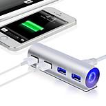 2015 New 5Gbps High-Speed Aluminum USB 3.0 4-Port Splitter Hub Adapter with Led Light