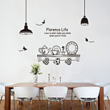 Wall Stickers Wall Decals Style Fashionable Black And White Tea Set PVC Wall Stickers