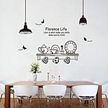 parede estilo decalques de parede adesivos de parede elegante preto e branco conjunto de chá adesivos pvc