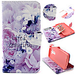 Purple Flower Pattern with Card Bag Full Body Case for LG G3