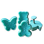 4PCS Bear Pattern Cake and Cookie Cutter Mold with Plunger