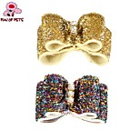 FUN OF PETS® Lovely Bling Rhinestone Decorated Rubber Band Hair Bow for Pet Dogs(Random Colour)