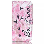 Pink Flower Pian Pattern PU Leather Painted Phone Case For iPhone 6