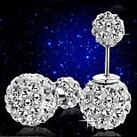 S925 Silver Sterling Double Ball Bullet Diamond Stud Earrings