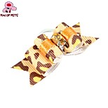 FUN OF PETS® Fashionable Leopard Print Pattern Rhinestone Decorated Rubber Band Hair Bow for Pet Dogs
