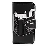 patrón del gato caso material de la PU para el iphone 4 / 4s