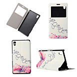 Flower Pattern View Winodw Leather Wallet Flip Cover Case for Sony Xperia M4 Aqua/Sony Xperia C4