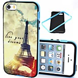 2-in-1 Dreams Eiffel Tower Pattern TPU Back Cover with PC Bumper Shockproof Soft Case for iPhone 5/5S