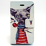 Will The Dog Of Smoking Pattern PU Leather Phone Holster  For iPhone 4/4S