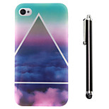 Triangular Clouds Pattern TPU Soft Back and A Stylus Touch Pen for iPhone 4/4S