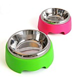 Stainless Steel Plastic Bowl for Dog/Cat Pink/Green