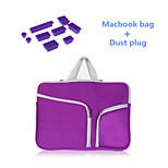 Solid Colors Handle Zipper Sleeve bag with Silicone Dust Plug for Macbook Retina 13.3