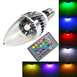 E14  3W RGB 1x High Power LED - with Remote Controller LED Candle Bulb (AC 85-265V)