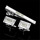 Personalized Gift Men's Engravable Silver Plain Cufflinks and Tie Bar Clip Clasp(1 Set)