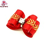 FUN OF PETS® Lovely Two-Tone Golden Ribbon Style Rubber Band Hair Bow for Pet Dogs  (Random Color)