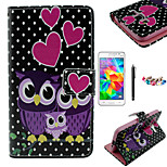 KARZEA™Dots Owl Family Pattern PU Case with Screen Protector and Stylus and Dust Plug for Samsung Grand Prime G530