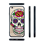 Rose Skull Pattern Transparent Silicone Rubber Edge Hard Back Case for iPhone 6/6S