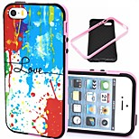 2-in-1 Colorful Love Pattern TPU Back Cover with PC Bumper Shockproof Soft Case for iPhone 5/5S
