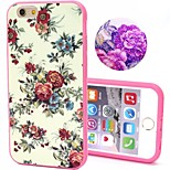 2-in-1 Bling Bling White Flowers Pattern PC Back Cover with PC Bumper Shockproof Hard Case for iPhone 6