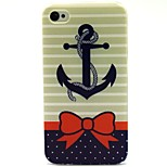 Bow Anchor Pattern TPU Soft Back Case for iPhone 4/4S