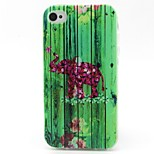 Elephant Leaves Pattern TPU Material Phone Case for iPhone 4/4S