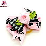 FUN OF PETS®Lovely Ribbon Style Heart Pattern Flower Decorated Rubber Band Hair Bow for Pet Dogs  (Random Color)