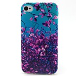 Purple Flowers Pattern TPU Material Phone Case for iPhone 4/4S