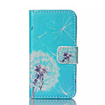 Blue Dandelion Pattern PU Leather Painted Phone Case For iPhone 4/4S