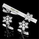 Personalized Gift Men's Engravable Silver Plain Winter Snowflake Pattern Cufflinks and Tie Bar Clip Clasp(1 Set)