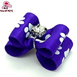 FUN OF PETS®  Ribbon Style Puppy Paw Pattern  Rhinestone Decorated Rubber Band Hair Bow for Pet Dogs  (Random Color)