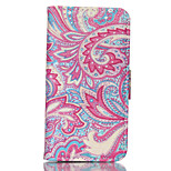 Red Decorative Motifs Pattern PU Material Card Sided Bracket Full Body Case for iPhone 5/5S