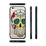 Colorful Cartoon Skull Pattern Transparent Silicone Rubber Edge Hard Back Case for iPhone 6