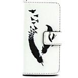 patrón de pluma caja de cuero de la PU con cierre magnético y la ranura de la tarjeta para el iphone 5 / 5s