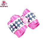 FUN OF PETS® Lovely Ribbon Style Plaid Pattern Bead Decorated Rubber Band Hair Bow for Pet Dogs