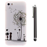 Under the Dandelion of Lovers Pattern TPU Soft Back and A Stylus Touch Pen for iPhone 5/5S